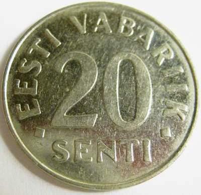монета 20 эстонских центов